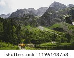 path to rysy peak with tourists ... | Shutterstock . vector #1196143753