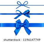set of decorative blue bows... | Shutterstock .eps vector #1196147749