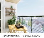 3D rendering,Modern balcony design, green plants make the balcony full of life
