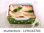 Stock photo vegetarian lasagna with zucchini eggplant tomato sauce and cheese 1196163760