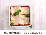 Stock photo vegetarian lasagna with zucchini eggplant tomato sauce and cheese 1196163766