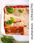 Stock photo vegetarian lasagna with zucchini eggplant tomato sauce and cheese 1196163793