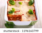 Stock photo vegetarian lasagna with zucchini eggplant tomato sauce and cheese 1196163799