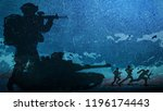 platoon  army attacking with... | Shutterstock . vector #1196174443