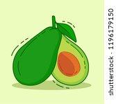 avocado vector illustration  | Shutterstock .eps vector #1196179150