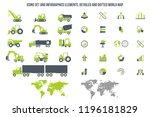 icon set  heavy duty machines  | Shutterstock .eps vector #1196181829