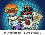 astronaut monster eats burger.... | Shutterstock .eps vector #1196190013