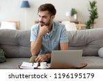 contemplating millennial... | Shutterstock . vector #1196195179