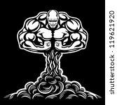 Постер, плакат: Nuclear explosion bodybuilder