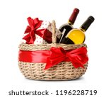 festive basket with bottles of... | Shutterstock . vector #1196228719