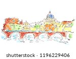 urban sketch of the old town... | Shutterstock . vector #1196229406