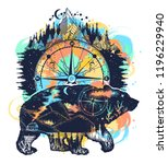 bear and mountains tattoo... | Shutterstock .eps vector #1196229940