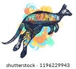 kangaroo double exposure tattoo ... | Shutterstock .eps vector #1196229943
