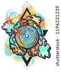 brain labyrinth and jigsaw... | Shutterstock .eps vector #1196231239