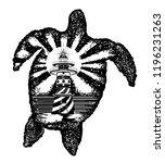 turtle tattoo art. symbol of... | Shutterstock .eps vector #1196231263