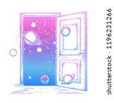 open door in universe tattoo.... | Shutterstock .eps vector #1196231266