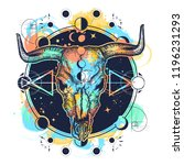 bison skull tattoo watercolor... | Shutterstock .eps vector #1196231293