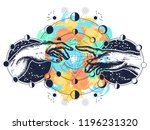 hands tattoo renaissance... | Shutterstock .eps vector #1196231320