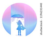 girl in rain tattoo. symbol of... | Shutterstock .eps vector #1196231440