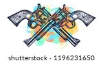 crossed guns tattoo and t shirt ... | Shutterstock .eps vector #1196231650