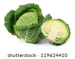 Two Savoy Cabbages Isolated...