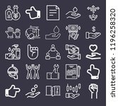 set of 25 hand outline icons... | Shutterstock . vector #1196258320
