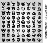 Big set of funny monster icons.