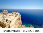 view on acropolis in lindos ... | Shutterstock . vector #1196278186