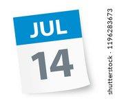 july 14   calendar icon  ... | Shutterstock .eps vector #1196283673