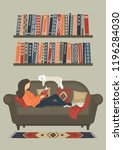 woman reading book on sofa at...   Shutterstock .eps vector #1196284030