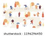 autumn park flat vector... | Shutterstock .eps vector #1196296450