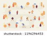 autumn park flat vector... | Shutterstock .eps vector #1196296453