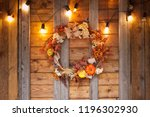 Autumn Wreath Of Leaves And...