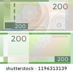 voucher template banknote 200... | Shutterstock .eps vector #1196313139