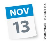 november 13   calendar icon  ... | Shutterstock .eps vector #1196321116