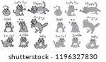 cat doodle set vector. funny... | Shutterstock .eps vector #1196327830