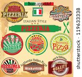set of vintage styled pizza... | Shutterstock .eps vector #119633338