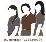 three women on white background. | Shutterstock .eps vector #1196349379