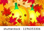 pumpkin on a background of... | Shutterstock .eps vector #1196353306