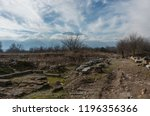 Small photo of Ruins of building at Dion archaeological site with Olympus mountain at background. Pieria, Macedonia, Greece