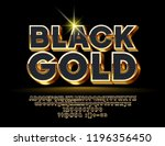 vector black gold alphabet... | Shutterstock .eps vector #1196356450
