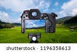 digital camera over tripod on... | Shutterstock . vector #1196358613