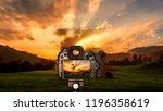 digital camera over tripod on... | Shutterstock . vector #1196358619