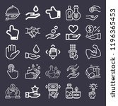 set of 25 hand outline icons... | Shutterstock . vector #1196365453