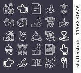 set of 25 hand outline icons... | Shutterstock . vector #1196370979
