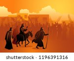 Biblical vector illustration series, Jesus comes to Jerusalem as King