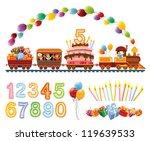 happy children in a toy train... | Shutterstock .eps vector #119639533