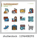 supermarket icon set | Shutterstock .eps vector #1196408293