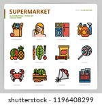supermarket icon set | Shutterstock .eps vector #1196408299