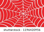 white cobweb on red background. ... | Shutterstock .eps vector #1196420956